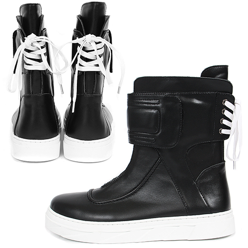 Ankle Wrap Back Lace Up High Top Leather Sneaker Boots 041