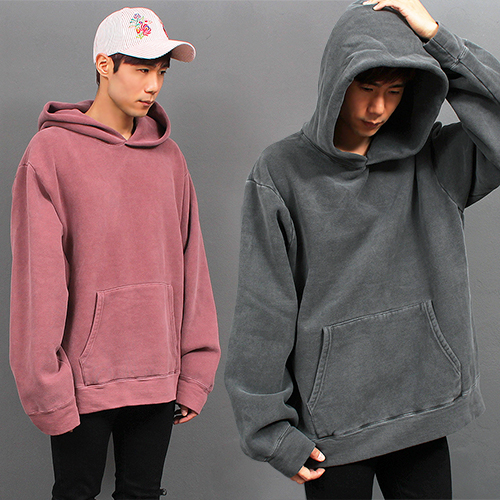 Big Over Loose Fit Pigment Washing Color Hoodie