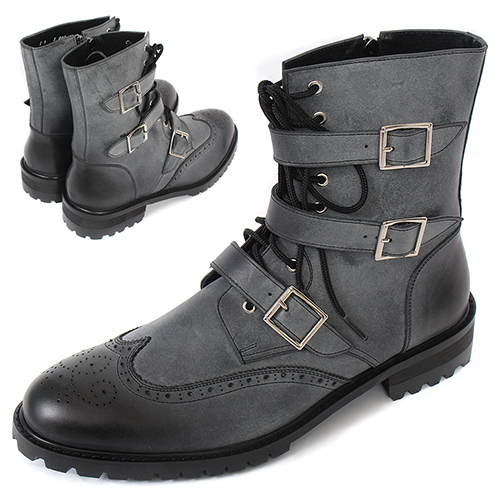 Handmade High top Tanned Gray Buckle Wingtip Brogue Boots 5069