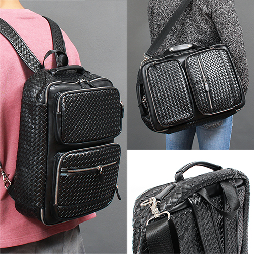 Weave Pattern 3 Way Shoulder Back Backpack