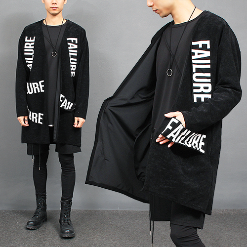 Failure Printing Patch Velvet Suede Cardigan