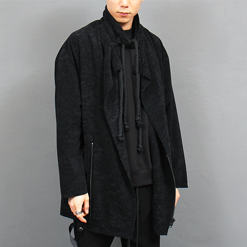 Unbalanced Zip Up Rope Strap Cardigan