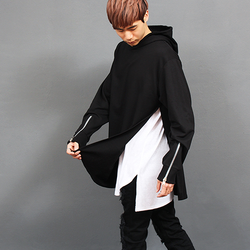 Zipper Cuff Split Side Long Hoodie