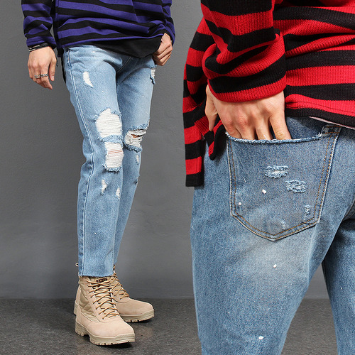 Distressed Faded Cut Off Blue Jeans 2168