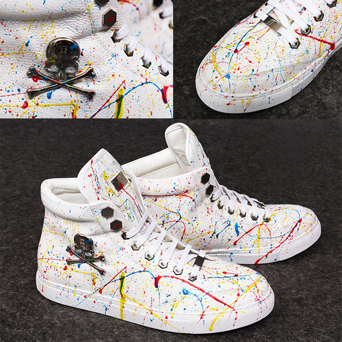Skull Logo Splattered Painted High Top Sneakers A051