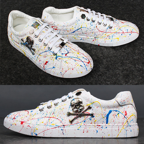 Skull Logo Splattered Painted Sneakers A052