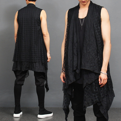 See Through Check Double Layered Shawl Long Vest
