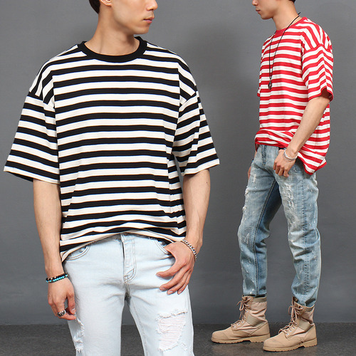 Loose Fit Striped Short Sleeve T Shirt