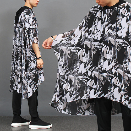 See Through Graphic Printing Draped Hood Cape