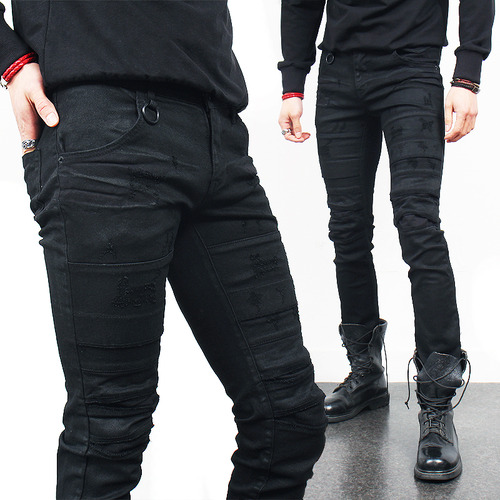 Vintage Scratch Distressed Coated Black Skinny Jeans