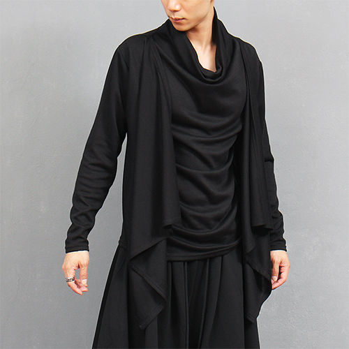 Avant garde Turtle Shirring Neck Layered Cardigan Tee