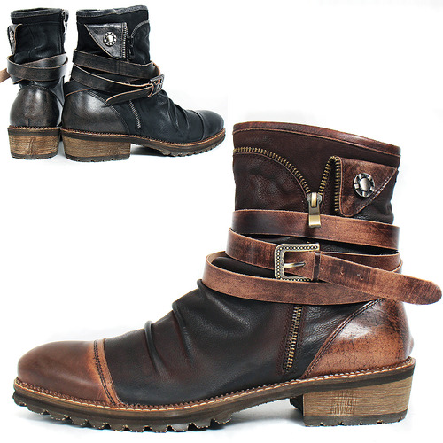 Wrinkle Shirring Brogue Wrap Belt Zipper Leather Boots bx01