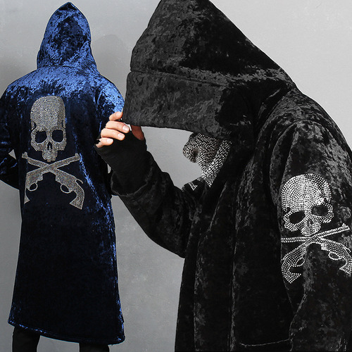 Glitter Skull Logo Velvet Fleece Long Coat
