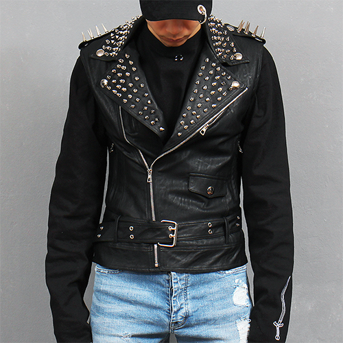 Studs Collar Lamb Skin Leather Belted Riders Vest