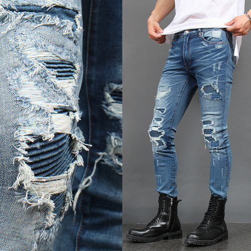 Ribbed Seaming Destroyed Blue Skinny Jeans
