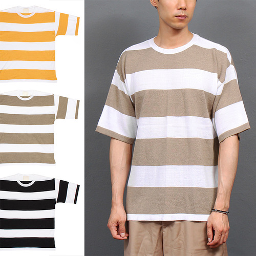 Loose Fit Split Side Stripe Summer Knit Tee