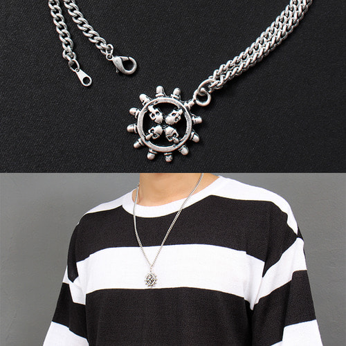 Skull Ship Steering Wheel Chain Necklace N67