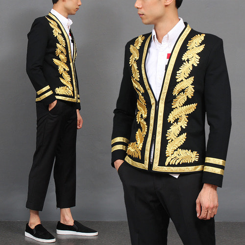 Embroidery Gold Leaf Stitch Slim Blazer Jacket
