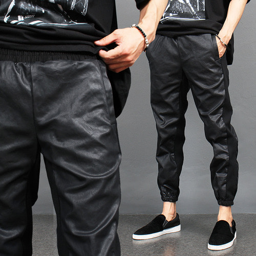 Synthetic Coated Leather Slim Jogger Pants