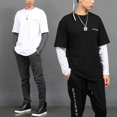 Double Layered Sleeve Styling Logo Printing T Shirt