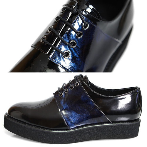 Handmade Mixed Blue Patent Leather Minimal Derby Creepers 1068