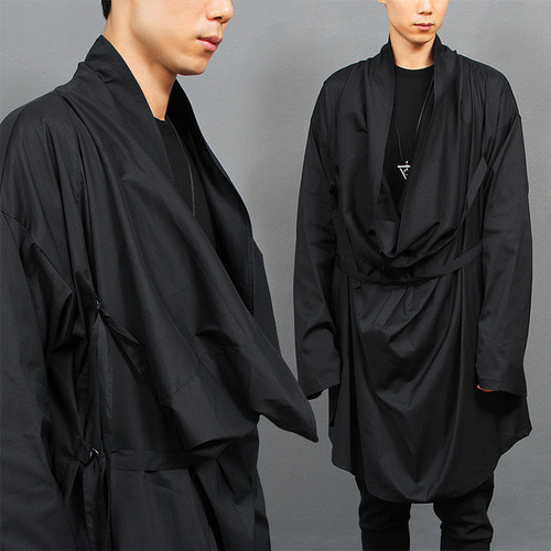 Avant garde Shawl Draping String Big Shirt