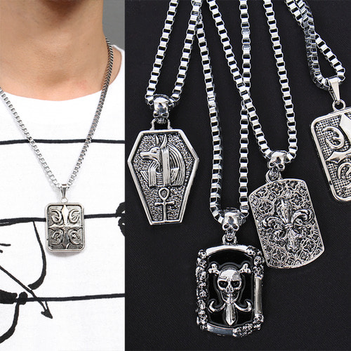 Steel Pendant Chain Necklace N70