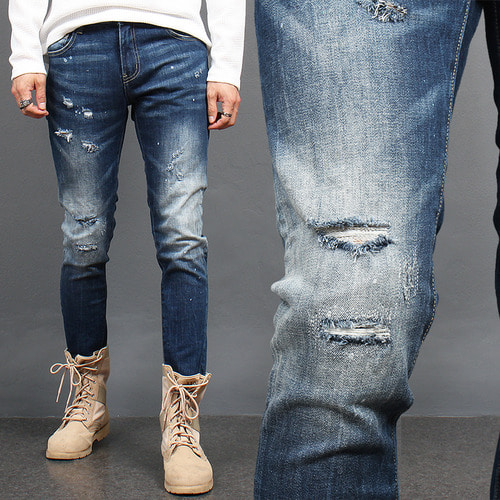 Cut Off Distressed Faded Blue Skinny Jeans 1772