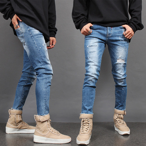 Cut Off Distressed Faded Super Skinny Jeans 1770