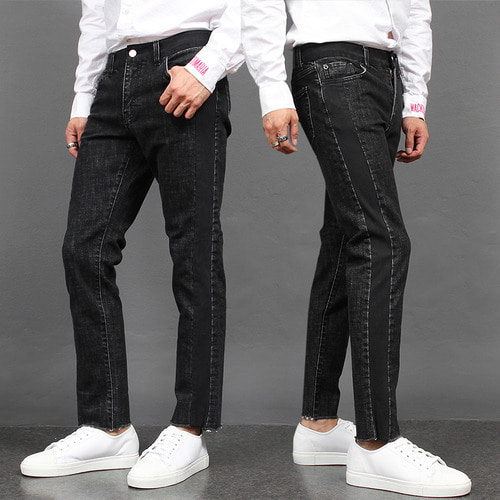 Contrast Side Line Black Slim Jeans D010
