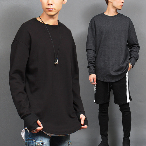 Loose Fit Handwarmer Long Sleeve Tee