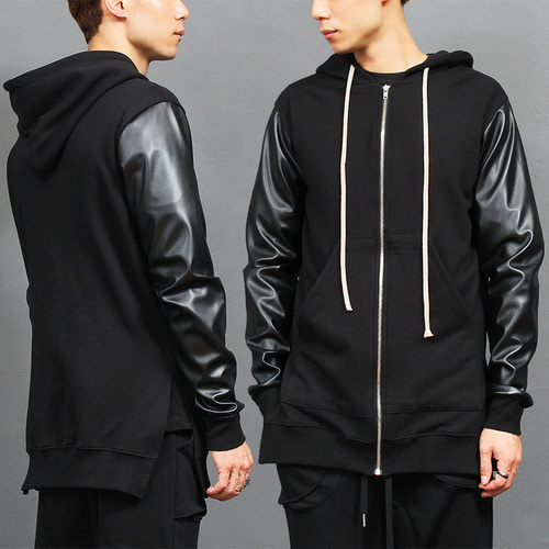 Split Side Leather Sleeve Zip Up Long Hoodie