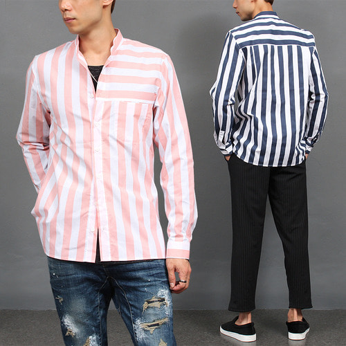 Band Collar Striped Pattern Shirt