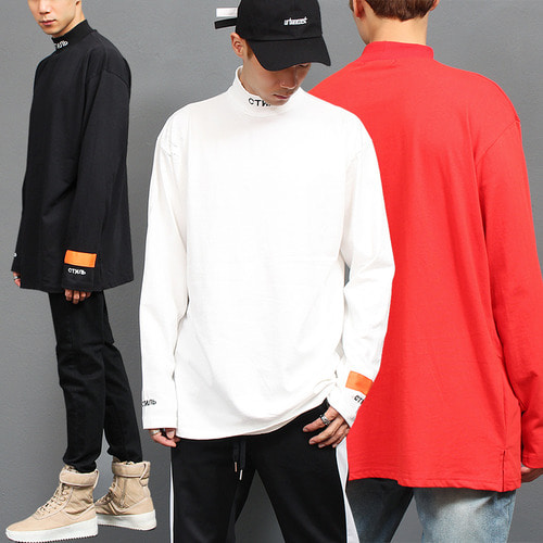Ribbed High Neck Logo Stitch Long Tee