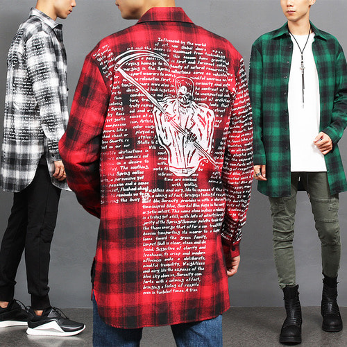 Checkered Pattern Writing Graphic Printing Long Shirt