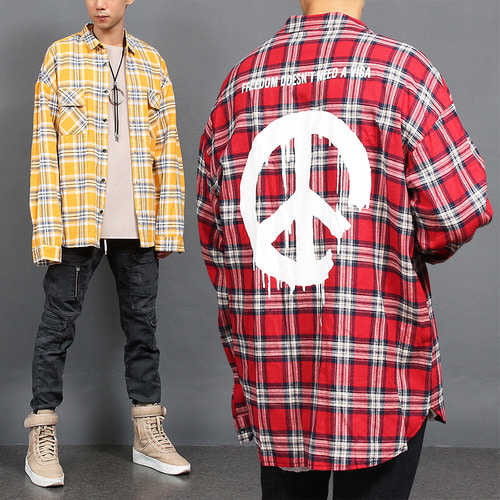 Checkered Pattern Peace Mark Printing Long Shirt