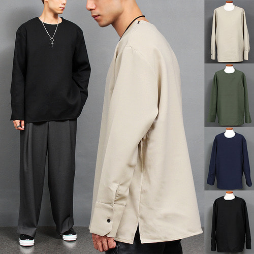 Loose Fit Zipper Shoulder Shirt Type Boxy Tee