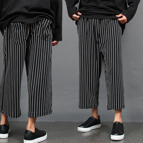 Loose Fit Elastic Waistband Striped Wide Sweatpants