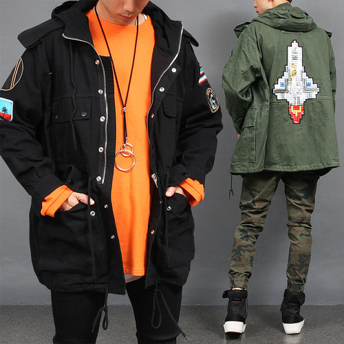 Patch Spangle Stitch Military Hood Zip Up Jacket