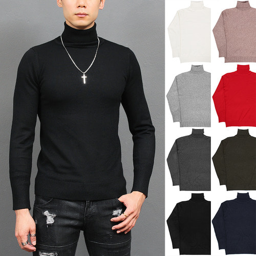 Slim Fit High Neck Basic Color Knit Tee