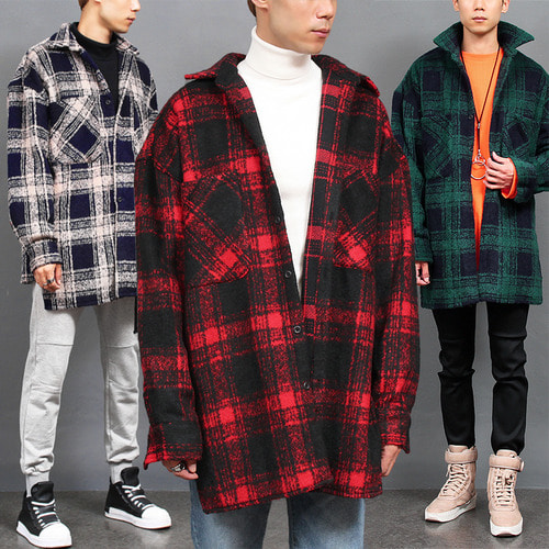 Loose Fit Fleece Check Split Side Boxy Shirt