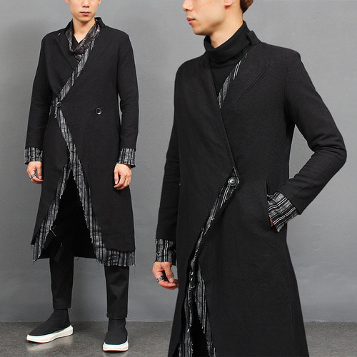 Avant garde Contrast Grunge Layered Slim Long Coat