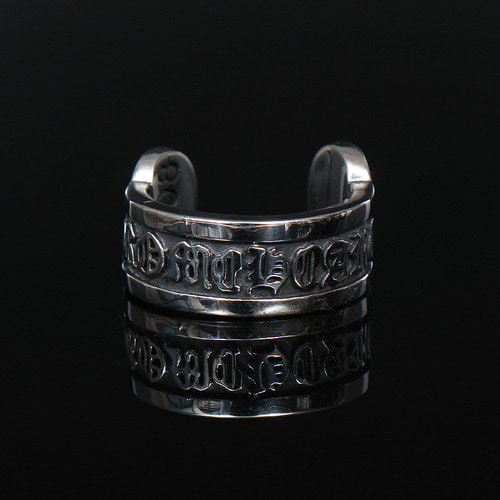 Oriental Character Engraved Open Steel Ring R9