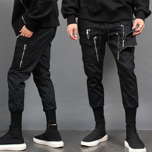 Double Zipper Layered Cargo Pocket Slim Jogger Pants