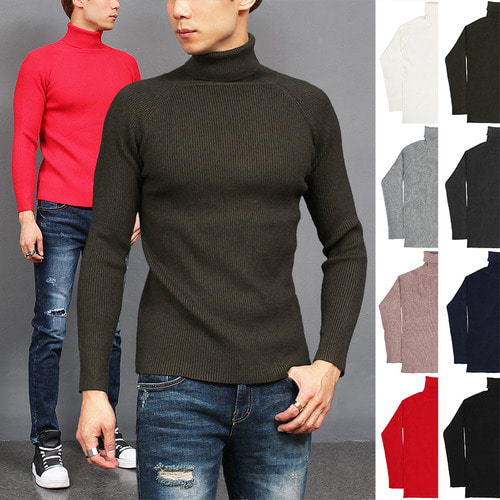 Slim Fit High Neck Corduroy Color Knit Tee
