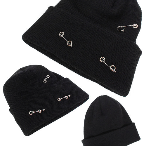 Safety Pin Styling Fold Up Black Knit Beanie
