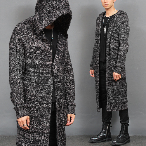 Gothic Hooded Long Knit One Button Cardigan Coat
