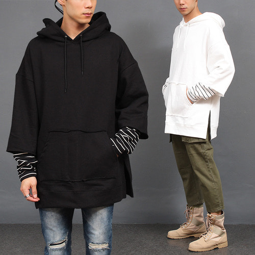 Loose Fit Layered Stripe Sleeve Pocket Boxy Hoodie
