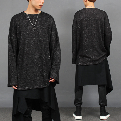 Loose Fit Wide Shoulder Grunge Boxy Knit Tee