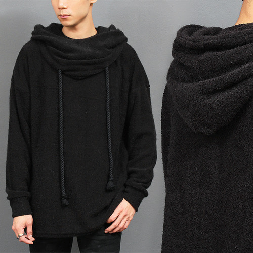 Big Hood Draped Long Strap Grunge Knit Tee